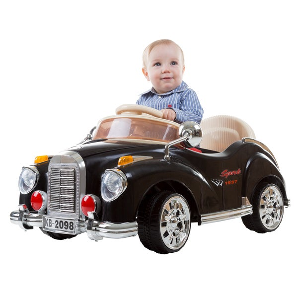 Lil' Rider Kids Ride-on Battery Operated Classic Car 6V with Remote, Lights & Sounds