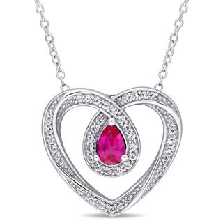 Miadora Sterling Silver Created Ruby and Created White Sapphire Looped Heart Necklace