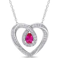 Miadora Sterling Silver Created Ruby and Created White Sapphire Looped Heart Necklace - Red
