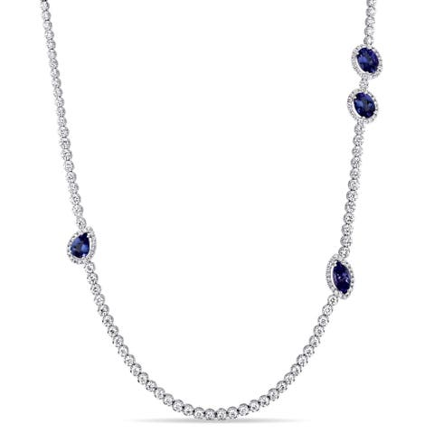 Miadora Signature Collection 18k White Gold 8 1/10ct TDW Diamond and Sapphire Station Strand Necklace (G-H, SI1-SI2) - Blue