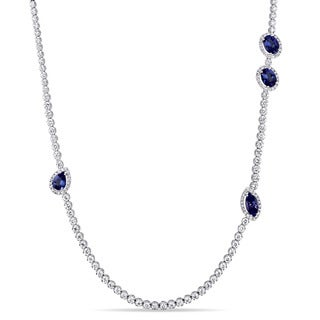Miadora Signature Collection 18k White Gold 8 1/10ct TDW Diamond and Sapphire Station Strand Necklace (G-H, SI1-SI2)