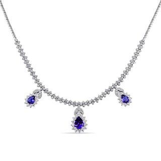 Miadora Signature Collection 18k White Gold Pear-Cut Tanzanite and 2 5/8ct TDW Diamond Dangle Necklace (G-H, SI1-SI2)