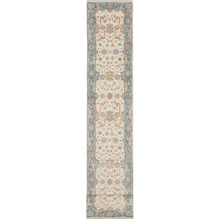 Ecarpet Gallery Hand-Knotted Royal Ushak Blue/ Ivory Wool Rug (2'5 x 24'1)