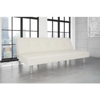 DHP Nola White Faux Leather Futon