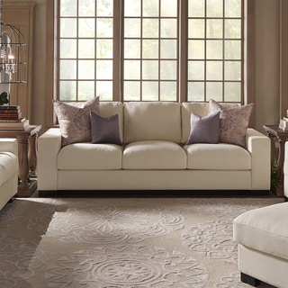 "Lionel II White Cotton Fabric Down-Filled 94"" Sofa by SIGNAL HILLS"