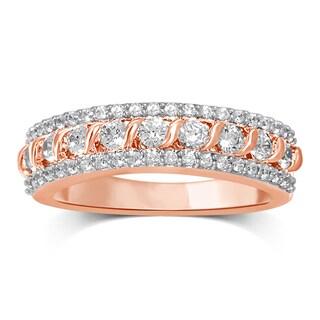 Unending Love 14k Rose Gold 3/4ct TDW White Diamond Band (I-J, I2-I3) - Pink