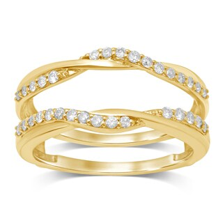 Unending Love 14k Yellow Gold 1/3ct TDW Diamond Wrap Guard Ring