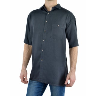 Campia Men's Rayon Textured Solid Crepe Weave Shirt