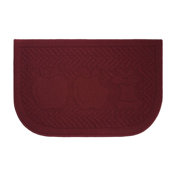 Applelisios Textured Loop Barn Red Slice Wedge Shaped Solid Kitchen Rug
