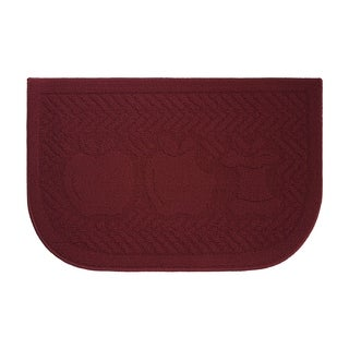 Applelisios Textured Loop Barn Red Slice Wedge Shaped Solid Kitchen Rug - (18 x 28 in.)
