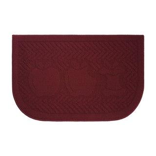 Applelisios Textured Loop Barn Red Slice Wedge Shaped Solid Kitchen Rug - (18 x 28 in.)