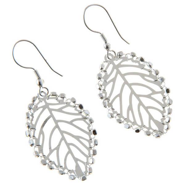Handmade Ambikia Leaf Silvertone Earrings India