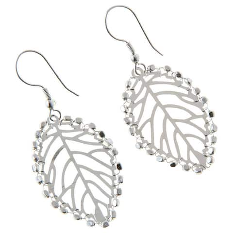 Handmade Ambikia Leaf Silvertone Earrings (India)