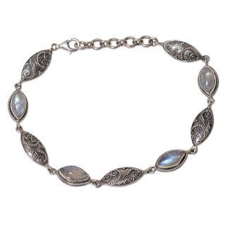 Handmade Sterling Silver Rainbow Moonstone Link Bracelet, 'Rainbow Putri Nari' (Indonesia)