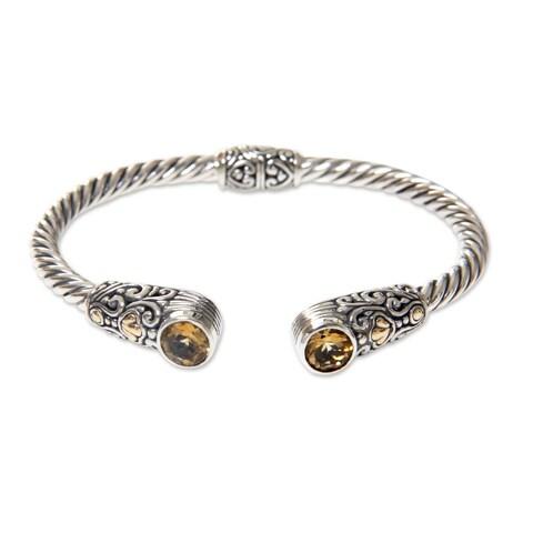 Handmade Gold Accent Sterling Silver Citrine Cuff Bracelet, 'Sukawati Secret' (Indonesia)