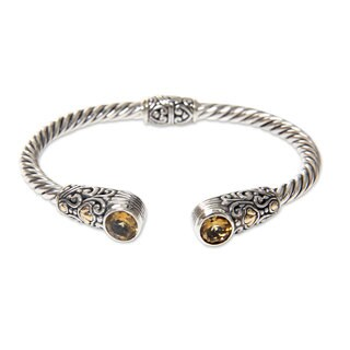 Handmade Gold Accent Sterling Silver Citrine Cuff Bracelet, 'Sukawati Secret' (Indonesia)