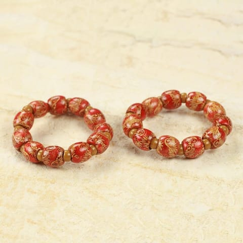 "Pair of Wood Stretch Bracelets, 'African Grace' (Ghana) - 7'6"" x 9'6"""