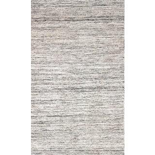 eCarpetGallery Ivory Handwoven Sari Silk Kilim Rug (5'x8'2)