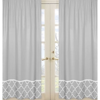 Sweet JoJo Designs Trellis Collection Grey and White Lattice Print Curtain Panel Pairs