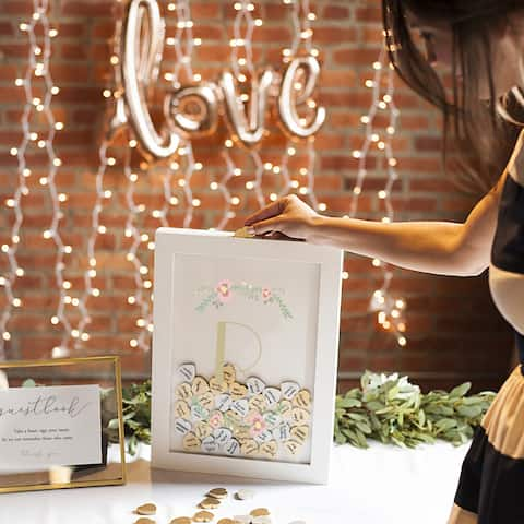 Personalized Floral Heart Drop White Guestbook