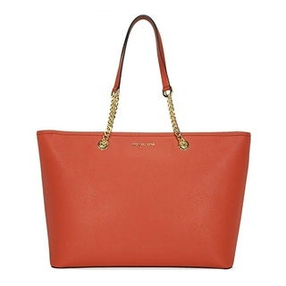 Michael Kors Jet Set Travel Medium Orange Saffiano Leather Tote Bag
