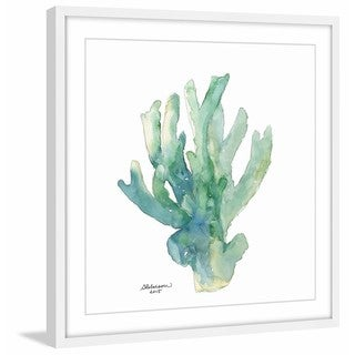 'Green Coral in Watercolor' Framed Painting Print