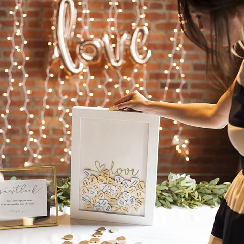 Gold Love Heart Drop Guestbook