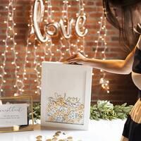 Gold Love Heart Drop Guestbook