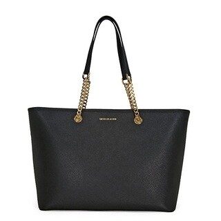 Michael Kors Jet Set Travel Medium Black Saffiano Leather Tote Bag
