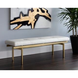Keith White Faux Leather Bench