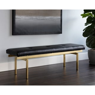 Keith Black Faux Leather Bench