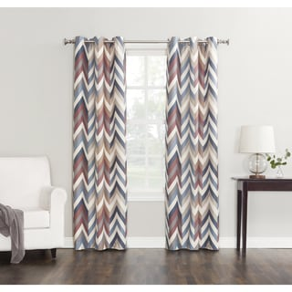 Sun Zero Mocha Chevron Grommet Room-darkening Window Curtain Panel