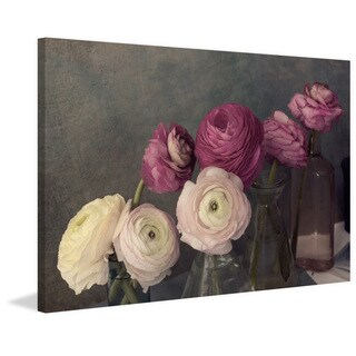 'Baroque Ranunculus' Painting Print on Wrapped Canvas - Pink (More options available)
