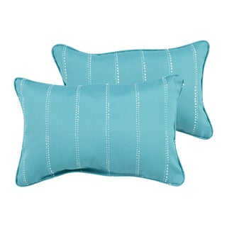 Caldwell Aqua Dotted Stripes Indoor/ Outdoor 13 x 20 inch Corded Pillow Set