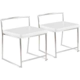 Fuji Contemporary Stainless Steel Dining Chair in White - Set of 2