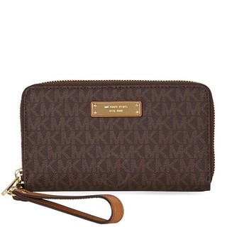 Michael Kors Jet Set Brown Large Multifunction Wristlet Phone Case