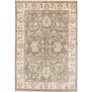 Ecarpet Gallery Hand-knotted Royal Ushak Grey, Yellow Wool Rug (6'2 x 9'0)
