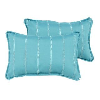 Caldwell Aqua Dotted Stripes Indoor/ Outdoor 13 x 20 inch Flange Pillow Set