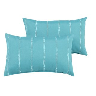 Caldwell Aqua Dotted Stripes Indoor/ Outdoor 13 x 20 inch Knife Edge Pillow Set