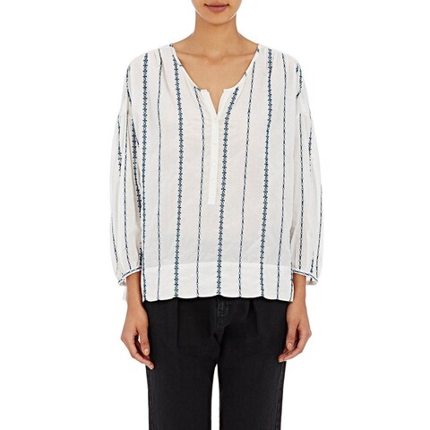 Nili Lotan Women's Provence White Striped Blouse