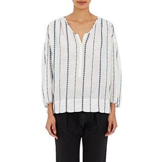 Nili Lotan Women's Provence White Striped Blouse