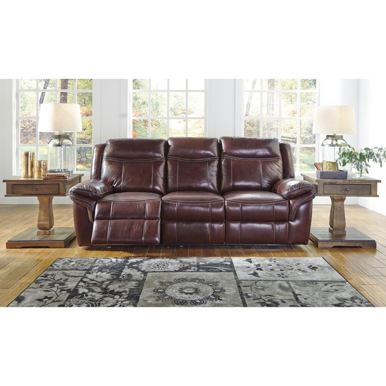 Ashley Zephen Red Reclining Power Sofa (Yes) (Leather)