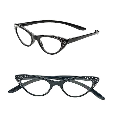 Pop Fashionwear R208 Unisex Plastic and Rhinestone Spring-hinge Cat-eye Long-arm Readers