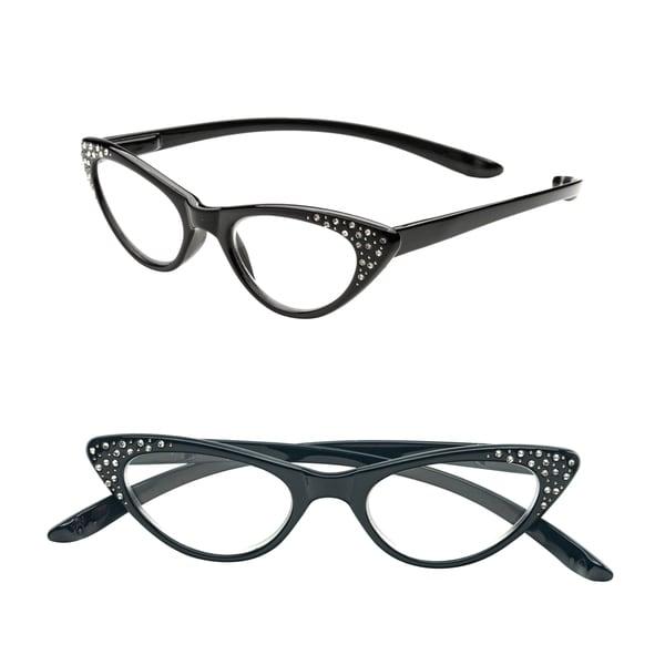 Pop Fashionwear R208 Unisex Plastic and Rhinestone Spring-hinge Cat-eye Long-arm Readers