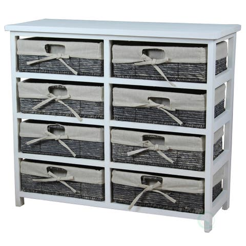 Rustic White Wooden Storage Chest with 8 Fabric Lined Baskets