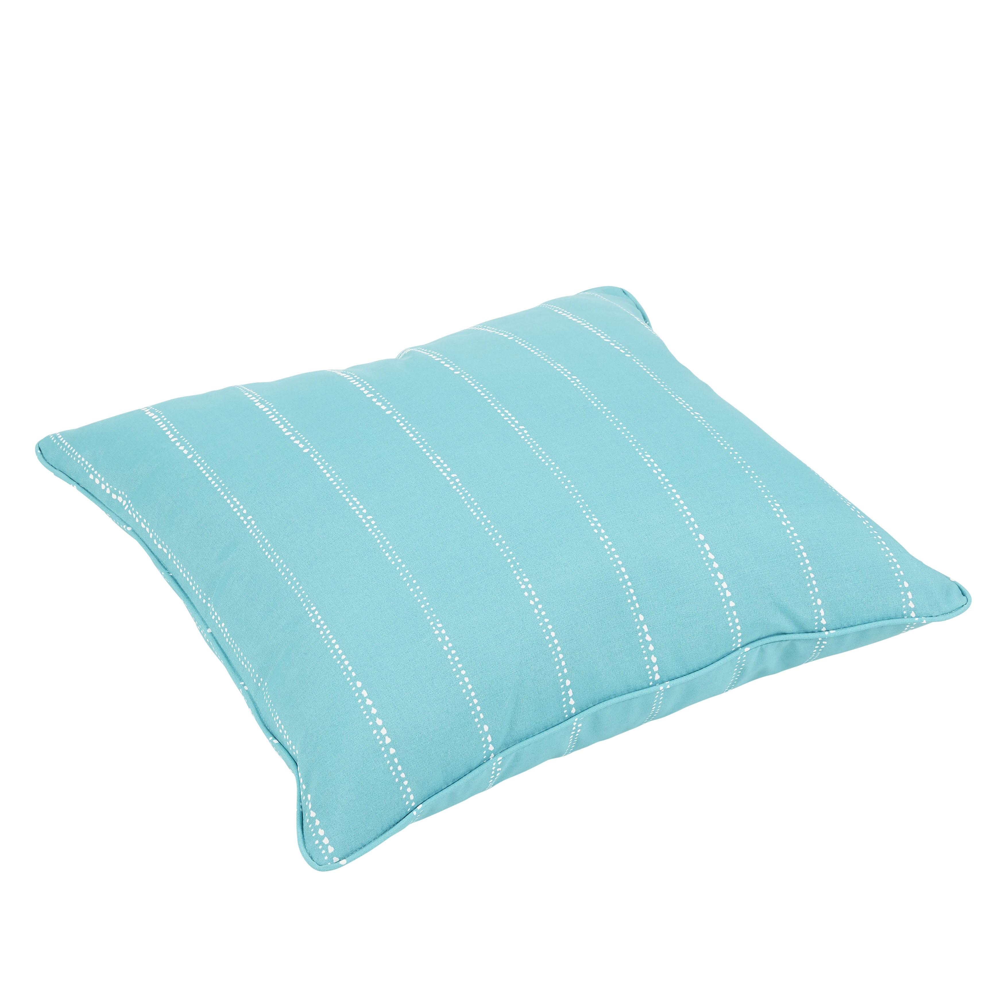 Caldwell Aqua Dotted Stripes Indoor Outdoor 26 Inch Corded Floor Pillow