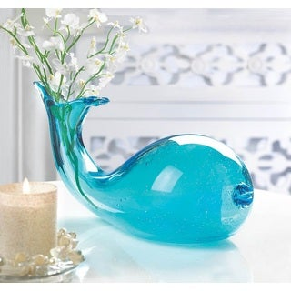 Seaside Blue Fish Glass Vase