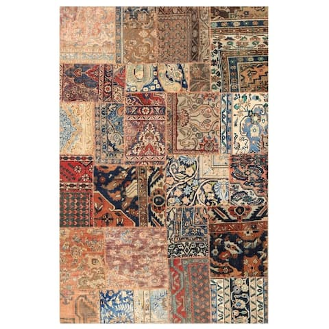 Handmade One-of-a-Kind Patchwork Wool Rug (Pakistan) - 5' x 7'10