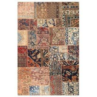 Herat Oriental Pak Persian Hand-knotted Patchwork Wool Rug (5' x 7'10)