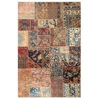 Herat Oriental Pak Persian Hand-knotted Patchwork Wool Rug (5' x 7'10) - 5' x 7'10